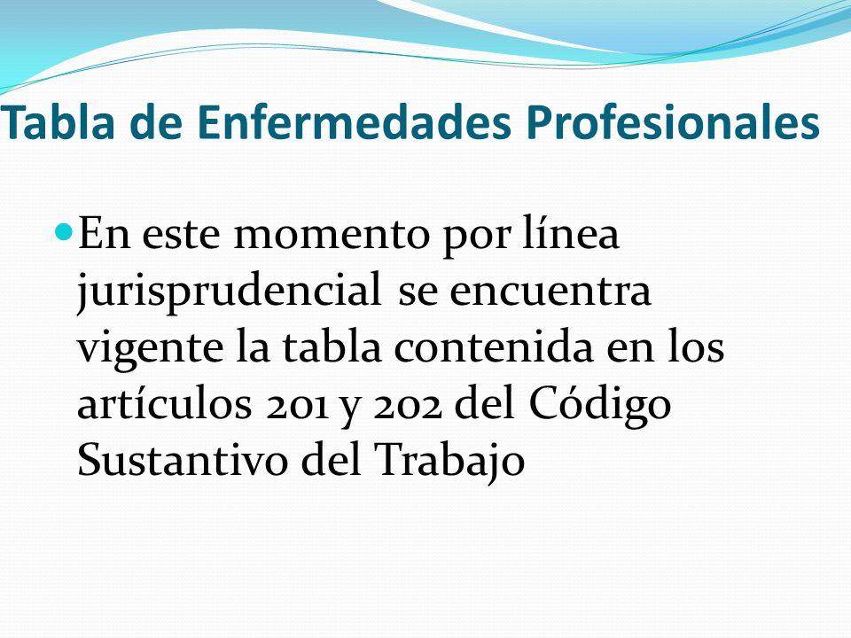 Tabla de Enfermedades Profesionales En este momento por línea jurisprudencial se encuentra vigente la tabla contenida en los artículos 201 y 202 del C