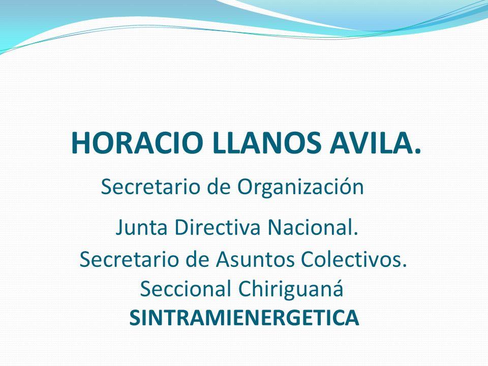 HORACIO LLANOS AVILA. Secretario de Organización Junta Directiva Nacional. Secretario de Asuntos Colectivos. Seccional Chiriguaná SINTRAMIENERGETICA