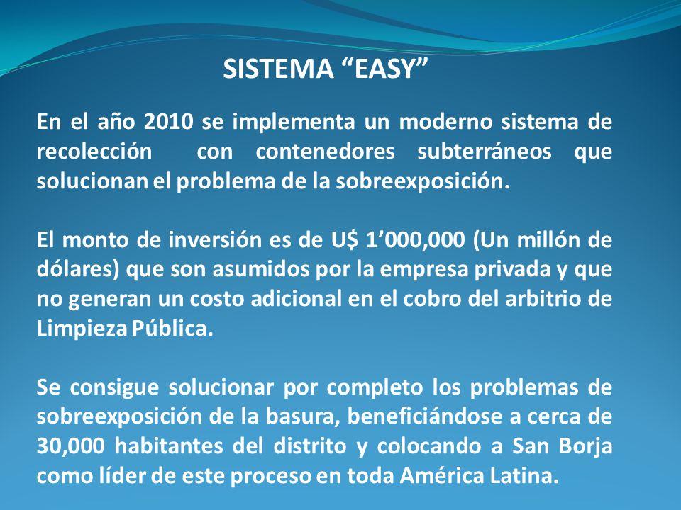 SISTEMA EASY En el año 2010 se implementa un moderno sistema de recolección con contenedores subterráneos que solucionan el problema de la sobreexposición.
