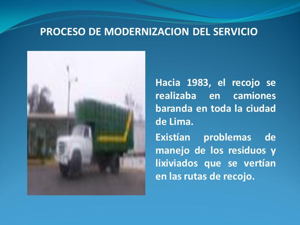 Hacia 1983, el recojo se realizaba en camiones baranda en toda la ciudad de Lima. Existían problemas de manejo de los residuos y lixiviados que se ver