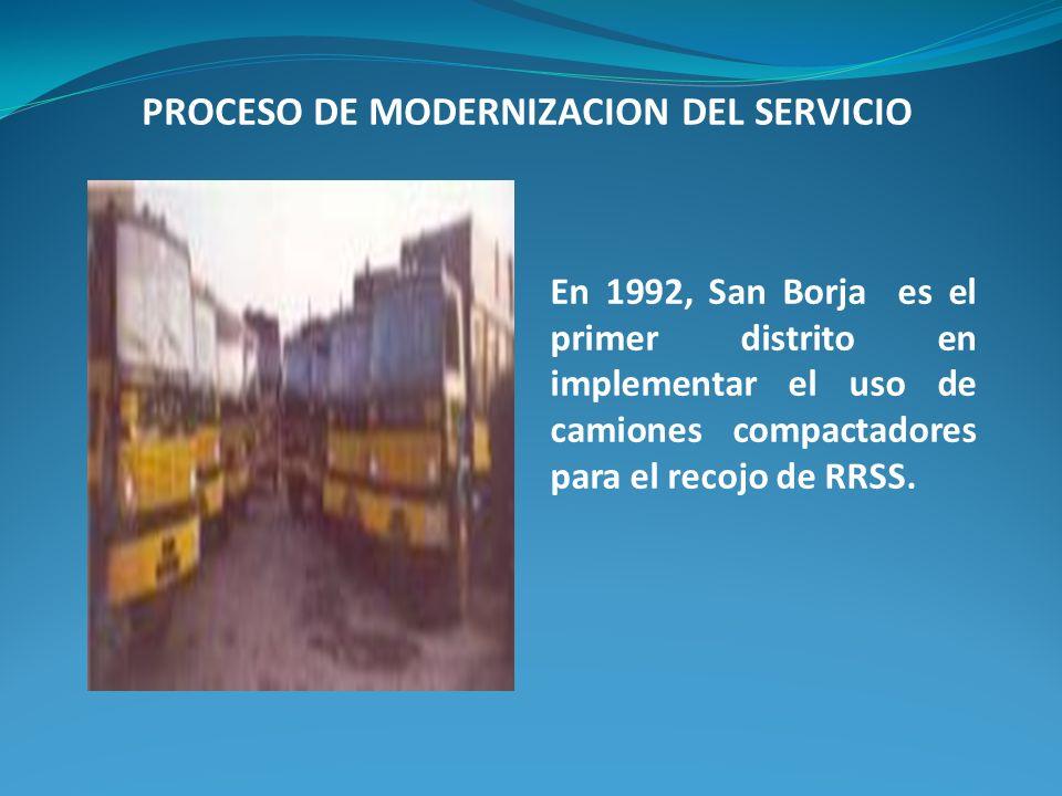 En 1992, San Borja es el primer distrito en implementar el uso de camiones compactadores para el recojo de RRSS. PROCESO DE MODERNIZACION DEL SERVICIO