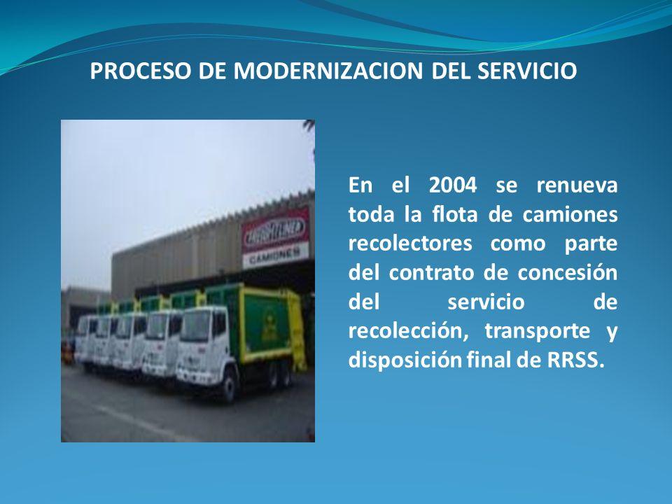 En el 2004 se renueva toda la flota de camiones recolectores como parte del contrato de concesión del servicio de recolección, transporte y disposición final de RRSS.