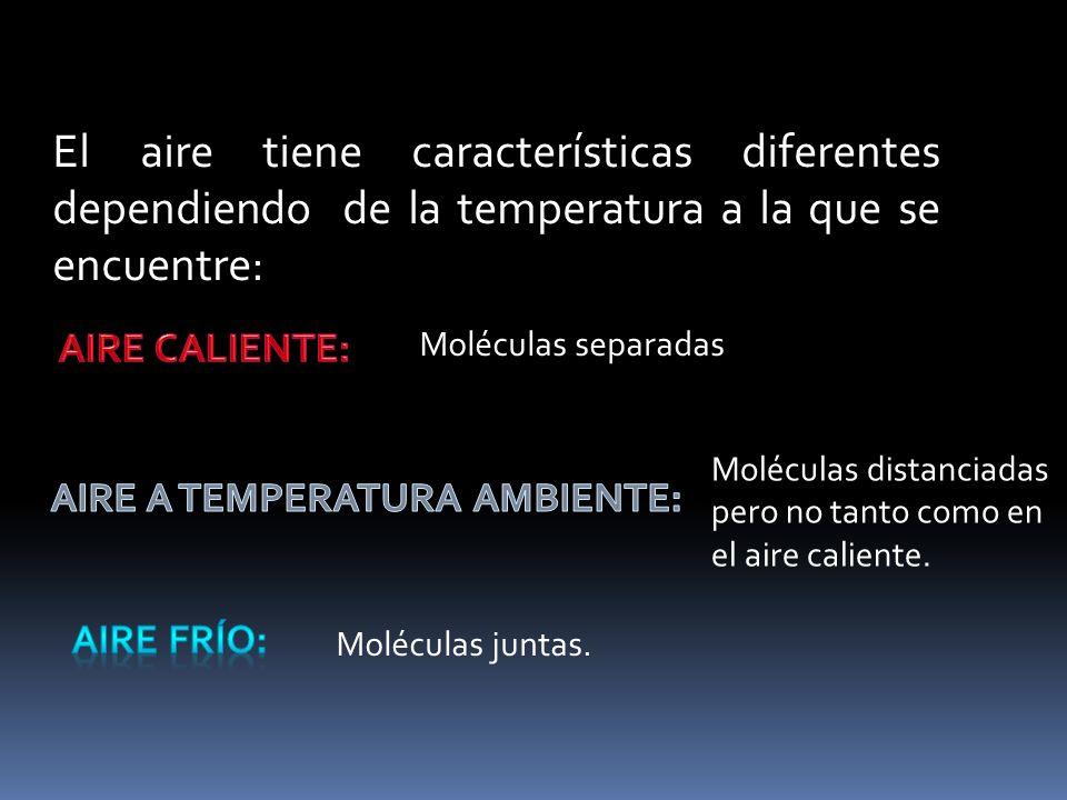 El aire tiene características diferentes dependiendo de la temperatura a la que se encuentre: Moléculas separadas Moléculas distanciadas pero no tanto como en el aire caliente.