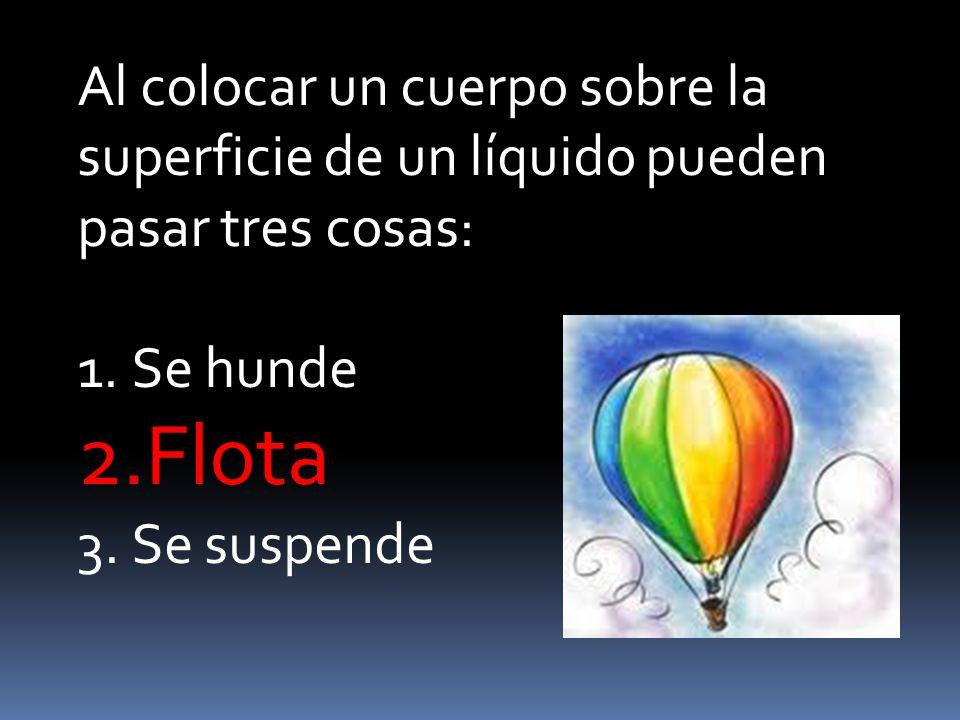 Al colocar un cuerpo sobre la superficie de un líquido pueden pasar tres cosas: 1.Se hunde 2.Flota 3.Se suspende