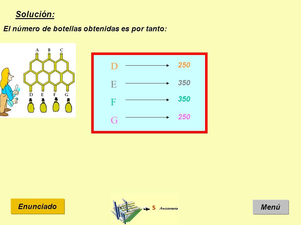 Solución: Menú Enunciado El número de botellas obtenidas es por tanto: DEFGDEFG 250 350