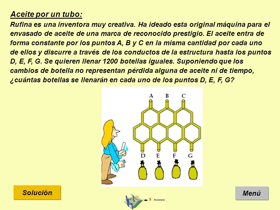 Solución: Menú Enunciado El aceite entra de forma constante por los puntos A, B y C en la misma cantidad por cada uno de ellos.