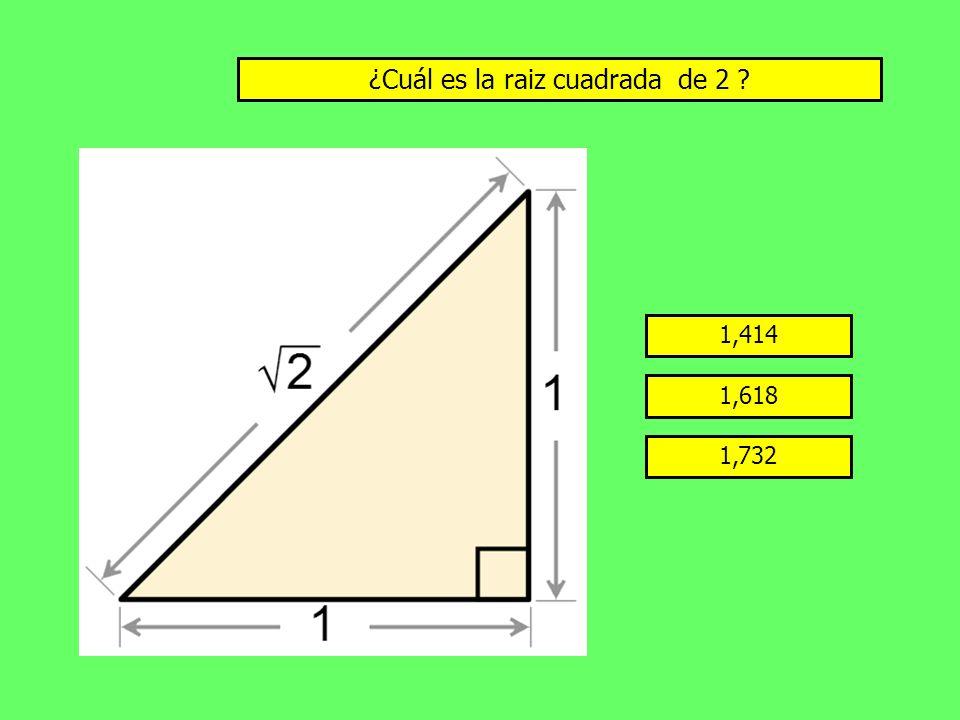¿Cuál es la raiz cuadrada de 2 ? 1,414 1,618 1,732
