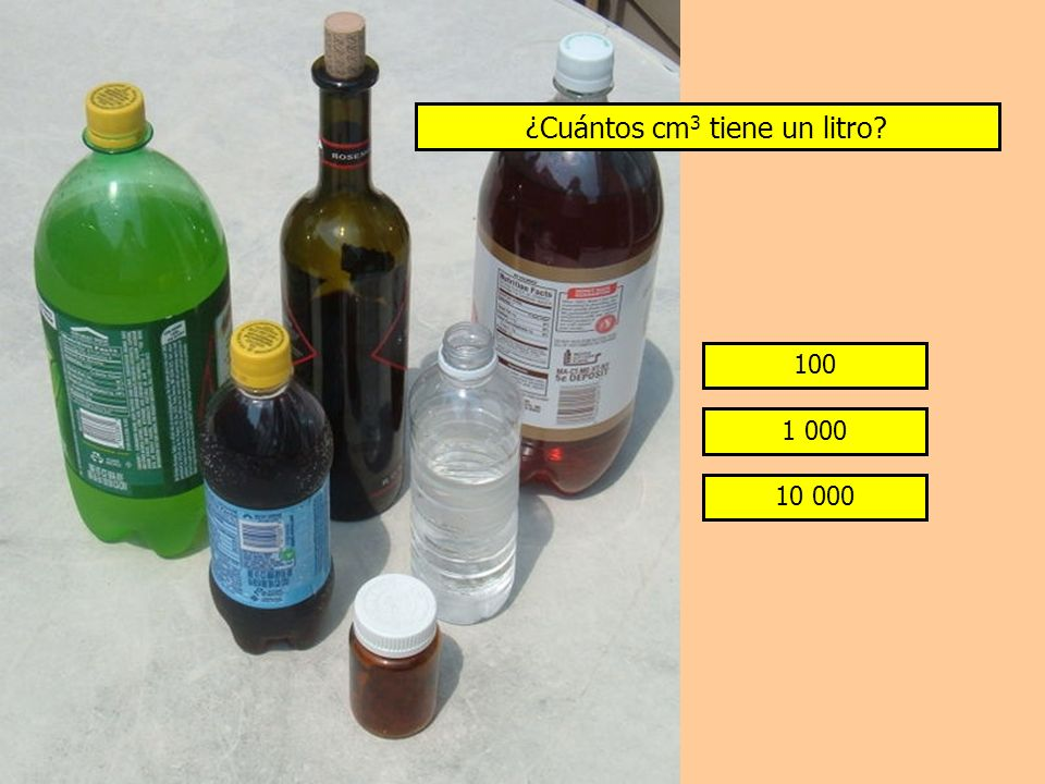¿Cuántos cm 3 tiene un litro? 100 1 000 10 000