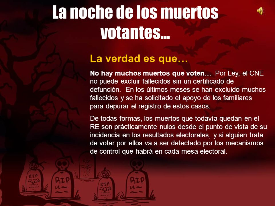 La noche de los muertos votantes… La verdad es que… No hay muchos muertos que voten… Por Ley, el CNE no puede excluir fallecidos sin un certificado de defunción.