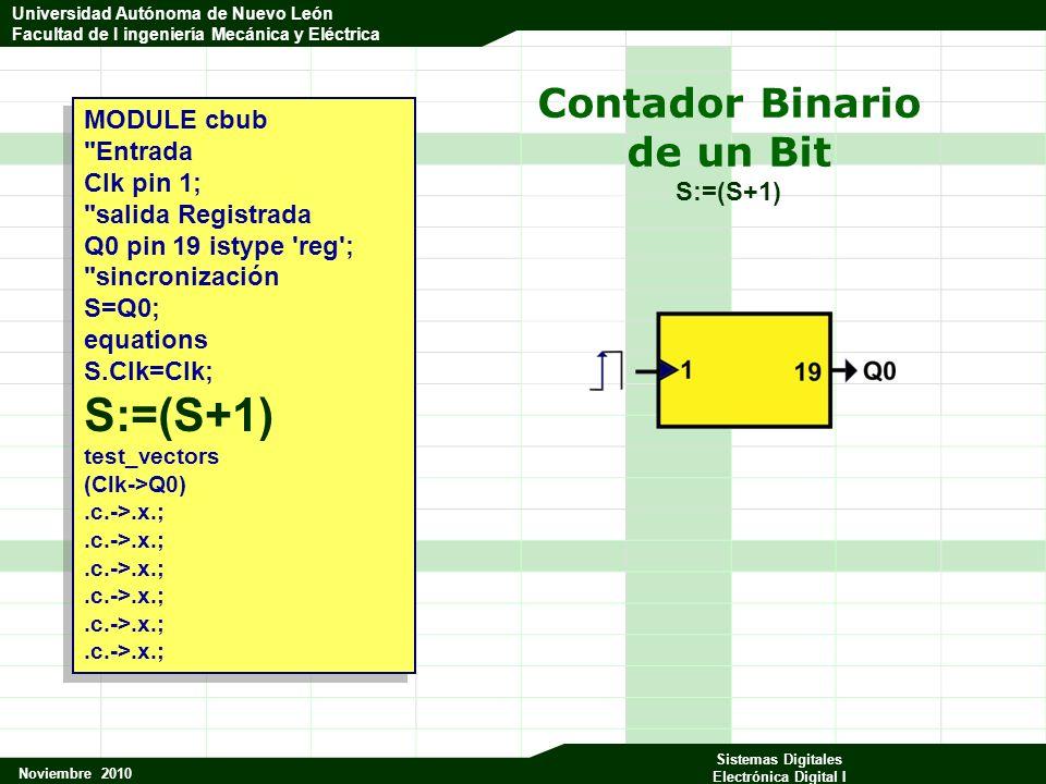 Universidad Autónoma de Nuevo León Facultad de Ingeniería Mecánica y Eléctrica Noviembre 2010 Sistemas Digitales Electrónica Digital I Universidad Autónoma de Nuevo León Facultad de I ingeniería Mecánica y Eléctrica Contador Binario de un Bit S:=(S+1) MODULE cbub Entrada Clk pin 1; salida Registrada Q0 pin 19 istype reg ; sincronización S=Q0; equations S.Clk=Clk; S:=(S+1) test_vectors (Clk->Q0).c.->.x.; MODULE cbub Entrada Clk pin 1; salida Registrada Q0 pin 19 istype reg ; sincronización S=Q0; equations S.Clk=Clk; S:=(S+1) test_vectors (Clk->Q0).c.->.x.;