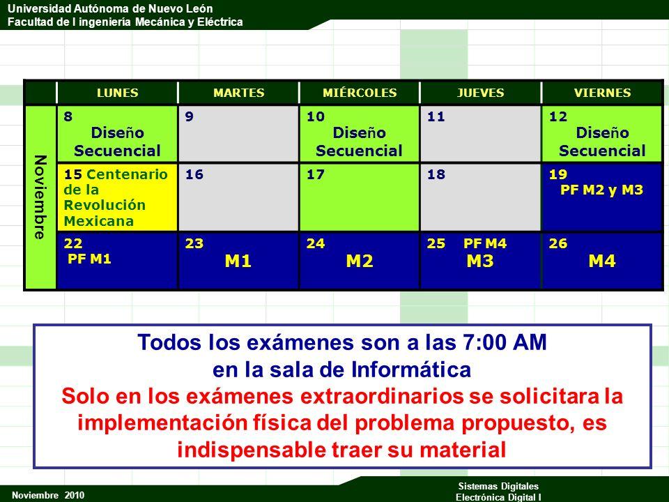 Universidad Autónoma de Nuevo León Facultad de Ingeniería Mecánica y Eléctrica Noviembre 2010 Sistemas Digitales Electrónica Digital I Universidad Autónoma de Nuevo León Facultad de I ingeniería Mecánica y Eléctrica CkQ3Q2Q1Q0 Rck 0 00001 1 00011 2 00101 3 00111 4 01001 5 01011 6 01101 7 01111 8 1000 1 9 1001 0 0 0000 1 101
