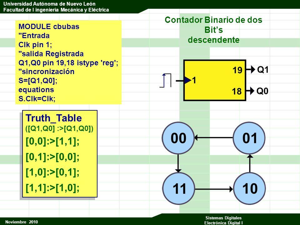 Universidad Autónoma de Nuevo León Facultad de Ingeniería Mecánica y Eléctrica Noviembre 2010 Sistemas Digitales Electrónica Digital I Universidad Autónoma de Nuevo León Facultad de I ingeniería Mecánica y Eléctrica Truth_Table ([Q1,Q0] :>[Q1,Q0]) [0,0]:>[1,1]; [0,1]:>[0,0]; [1,0]:>[0,1]; [1,1]:>[1,0]; Truth_Table ([Q1,Q0] :>[Q1,Q0]) [0,0]:>[1,1]; [0,1]:>[0,0]; [1,0]:>[0,1]; [1,1]:>[1,0]; MODULE cbubas Entrada Clk pin 1; salida Registrada Q1,Q0 pin 19,18 istype reg ; sincronización S=[Q1,Q0]; equations S.Clk=Clk; Contador Binario de dos Bits descendente