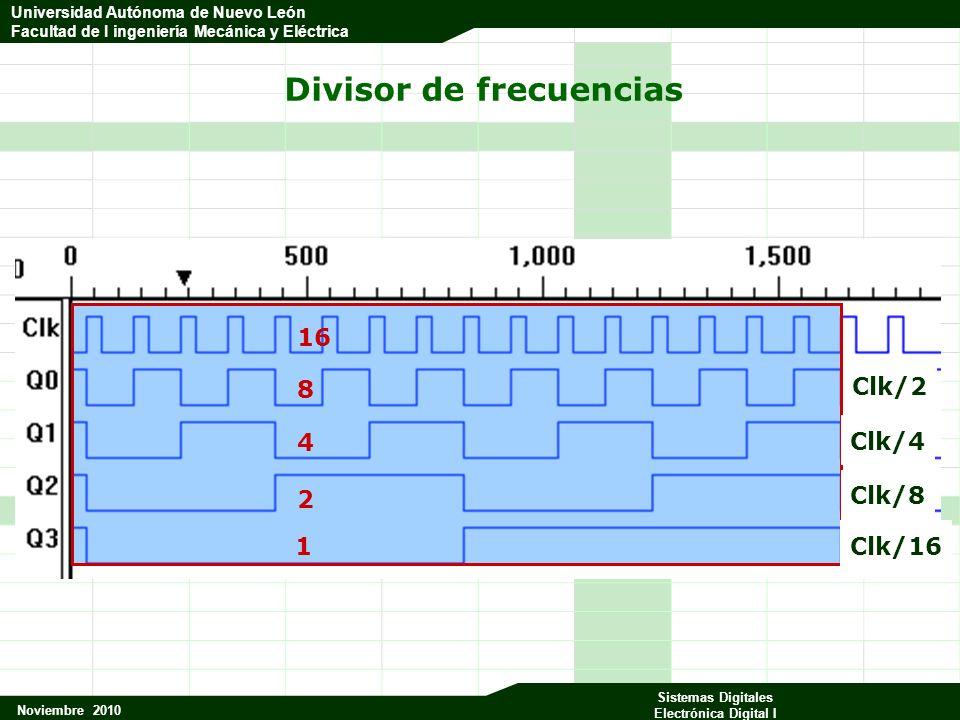 Universidad Autónoma de Nuevo León Facultad de Ingeniería Mecánica y Eléctrica Noviembre 2010 Sistemas Digitales Electrónica Digital I Universidad Aut