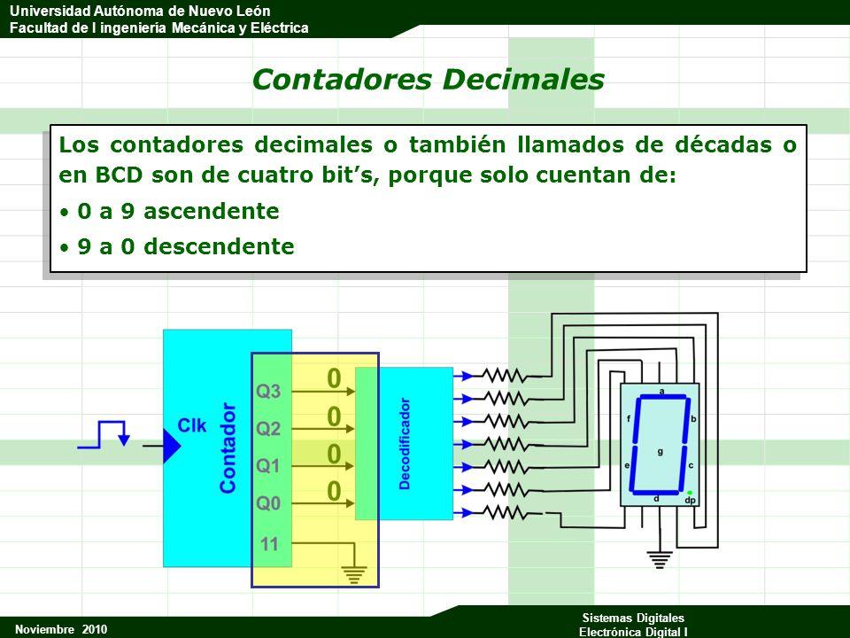Universidad Autónoma de Nuevo León Facultad de Ingeniería Mecánica y Eléctrica Noviembre 2010 Sistemas Digitales Electrónica Digital I Universidad Autónoma de Nuevo León Facultad de I ingeniería Mecánica y Eléctrica Contadores que incluyen el decodificador