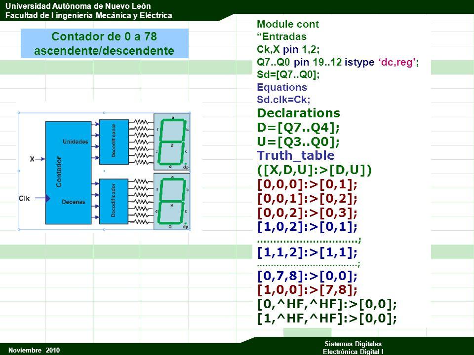 Universidad Autónoma de Nuevo León Facultad de Ingeniería Mecánica y Eléctrica Noviembre 2010 Sistemas Digitales Electrónica Digital I Universidad Autónoma de Nuevo León Facultad de I ingeniería Mecánica y Eléctrica Module cont Entradas Ck,X pin 1,2; Q7..Q0 pin 19..12 istype dc,reg; Sd=[Q7..Q0]; Equations Sd.clk=Ck; Declarations D=[Q7..Q4]; U=[Q3..Q0]; Truth_table ([X,D,U]:>[D,U]) [0,0,0]:>[0,1]; [0,0,1]:>[0,2]; [0,0,2]:>[0,3]; [1,0,2]:>[0,1]; ………………………….; [1,1,2]:>[1,1]; ………………………………; [0,7,8]:>[0,0]; [1,0,0]:>[7,8]; [0,^HF,^HF]:>[0,0]; [1,^HF,^HF]:>[0,0]; Contador de 0 a 78 ascendente/descendente