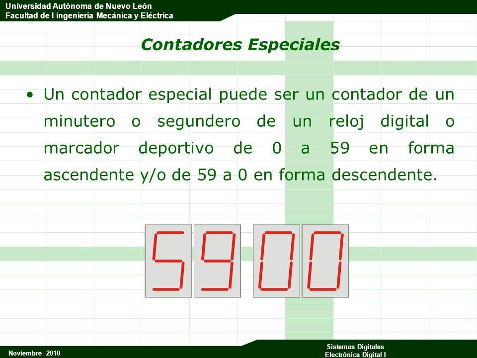 Universidad Autónoma de Nuevo León Facultad de Ingeniería Mecánica y Eléctrica Noviembre 2010 Sistemas Digitales Electrónica Digital I Universidad Autónoma de Nuevo León Facultad de I ingeniería Mecánica y Eléctrica Contadores que incluyen el decodificador (BCD) Q0Q1Q2Q3Q4Q5Q6Q7 abcdefgRck E0 11111101 E1 01100001 E2 11011011 E3 11110011 E4 01100111 E5 10110111 E6 X0111111 E7 11100001 E8 11111111 E9 111X0110