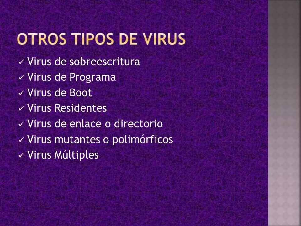Virus de sobreescritura Virus de Programa Virus de Boot Virus Residentes Virus de enlace o directorio Virus mutantes o polimórficos Virus Múltiples