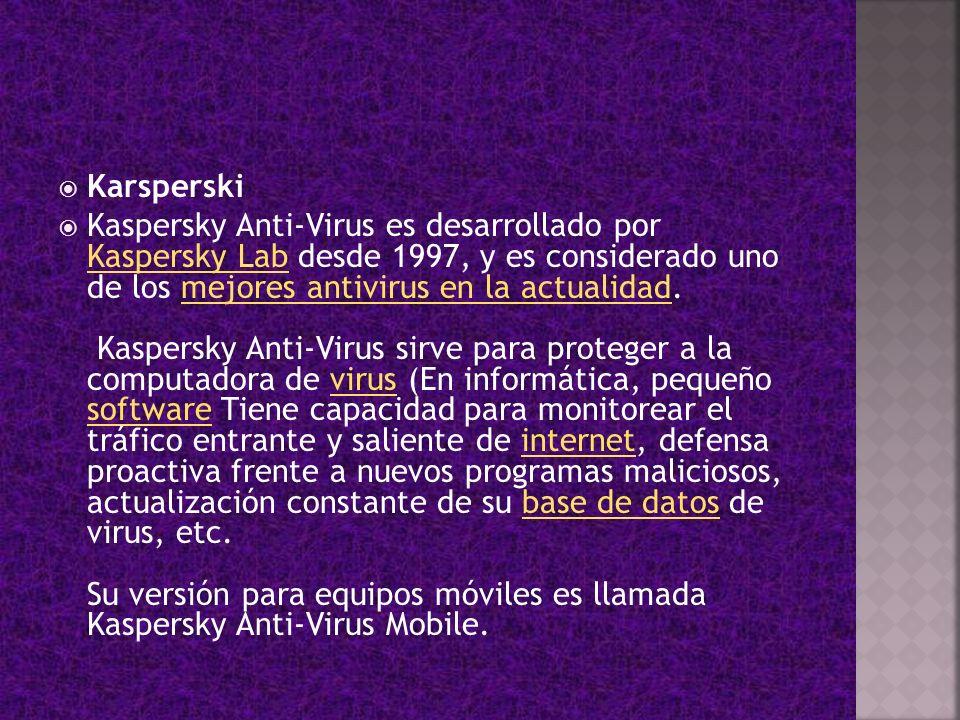 Karsperski Kaspersky Anti-Virus es desarrollado por Kaspersky Lab desde 1997, y es considerado uno de los mejores antivirus en la actualidad. Kaspersk