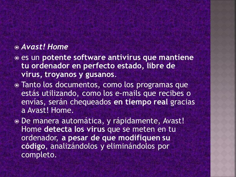 Avast! Home es un potente software antivirus que mantiene tu ordenador en perfecto estado, libre de virus, troyanos y gusanos. Tanto los documentos, c