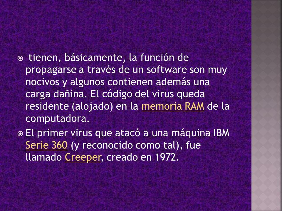 tienen, básicamente, la función de propagarse a través de un software son muy nocivos y algunos contienen además una carga dañina. El código del virus