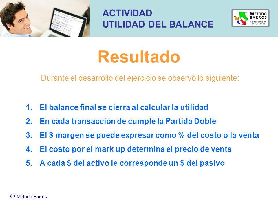 Resultado © Método Barros ACTIVIDAD UTILIDAD DEL BALANCE 1.El balance final se cierra al calcular la utilidad 2.En cada transacción de cumple la Parti
