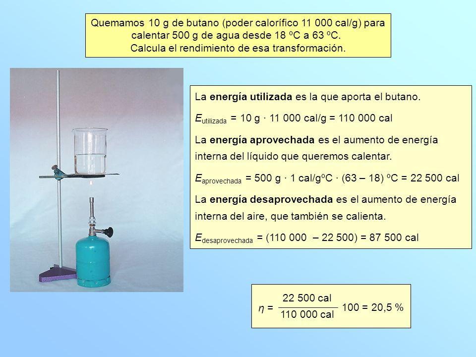 Quemamos 10 g de butano (poder calorífico 11 000 cal/g) para calentar 500 g de agua desde 18 ºC a 63 ºC. Calcula el rendimiento de esa transformación.