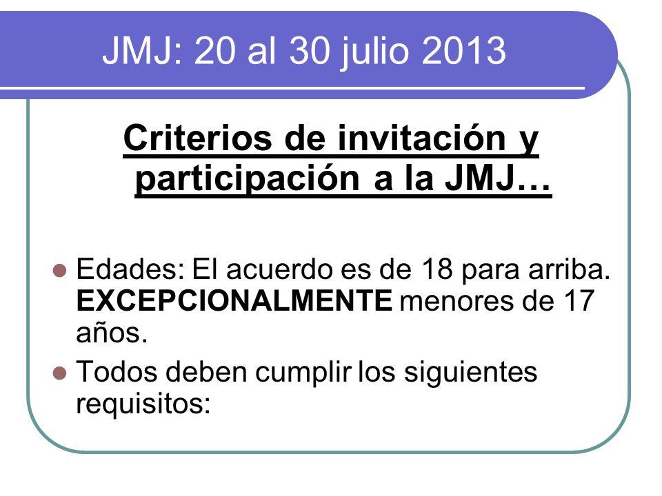 JMJ: 20 al 30 julio 2013 Criterios de invitación y participación a la JMJ… Edades: El acuerdo es de 18 para arriba. EXCEPCIONALMENTE menores de 17 año