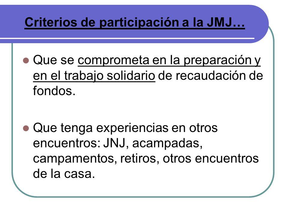 Que se comprometa en la preparación y en el trabajo solidario de recaudación de fondos. Que tenga experiencias en otros encuentros: JNJ, acampadas, ca