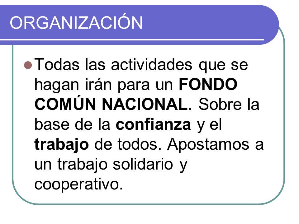 ORGANIZACIÓN Todas las actividades que se hagan irán para un FONDO COMÚN NACIONAL. Sobre la base de la confianza y el trabajo de todos. Apostamos a un