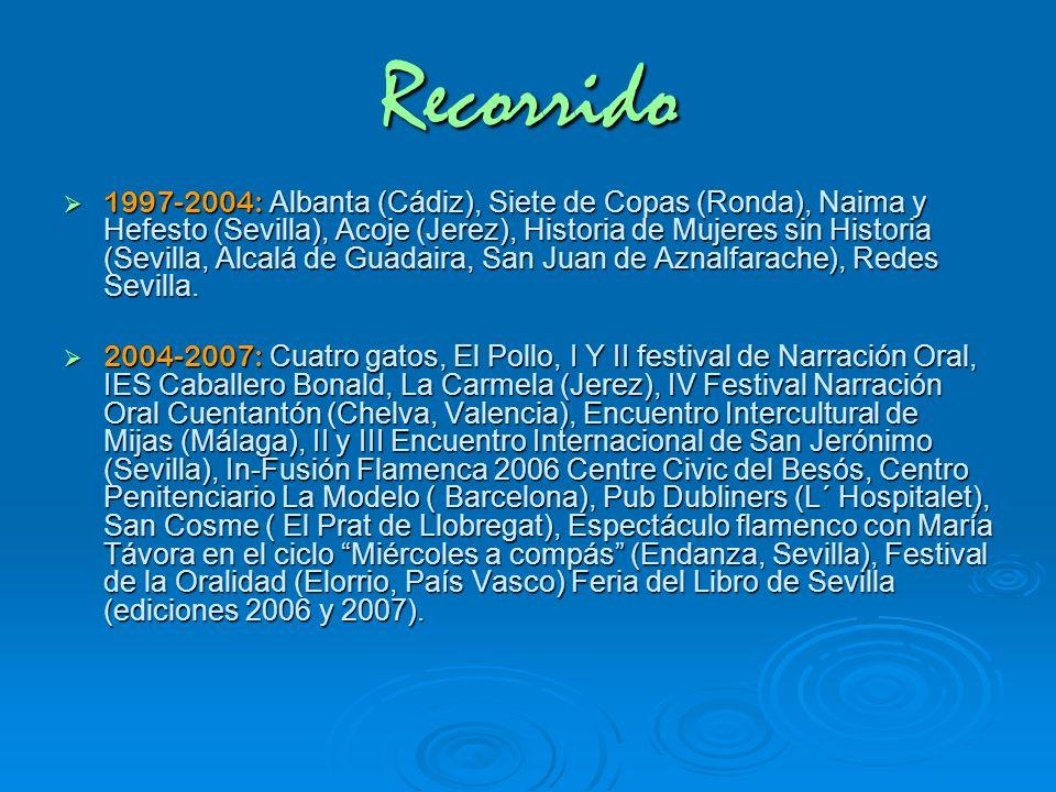 Recorrido 1997-2004: Albanta (Cádiz), Siete de Copas (Ronda), Naima y Hefesto (Sevilla), Acoje (Jerez), Historia de Mujeres sin Historia (Sevilla, Alc