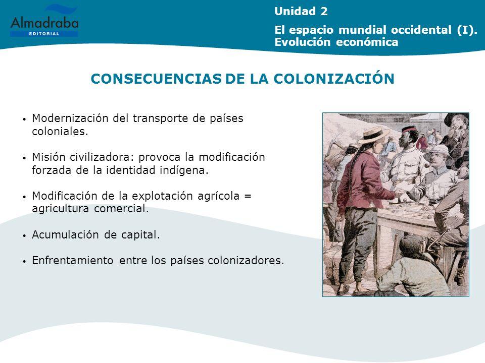 CONSECUENCIAS DE LA COLONIZACIÓN Unidad 2 El espacio mundial occidental (I). Evolución económica Modernización del transporte de países coloniales. Mi