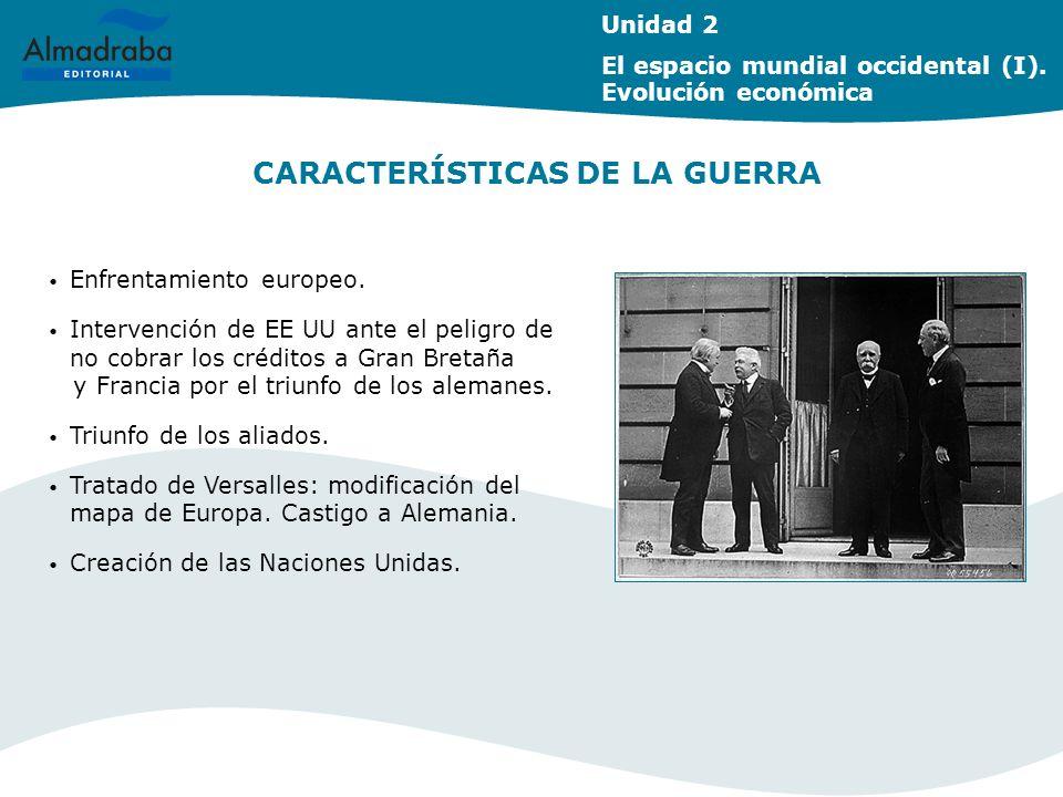 CARACTERÍSTICAS DE LA GUERRA Unidad 2 El espacio mundial occidental (I). Evolución económica Enfrentamiento europeo. Intervención de EE UU ante el pel