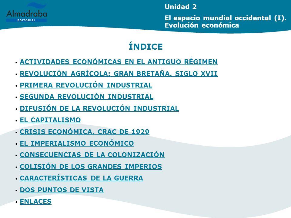 Unidad 2 El espacio mundial occidental (I). Evolución económica ÍNDICE ACTIVIDADES ECONÓMICAS EN EL ANTIGUO RÉGIMEN ACTIVIDADES ECONÓMICAS EN EL ANTIG