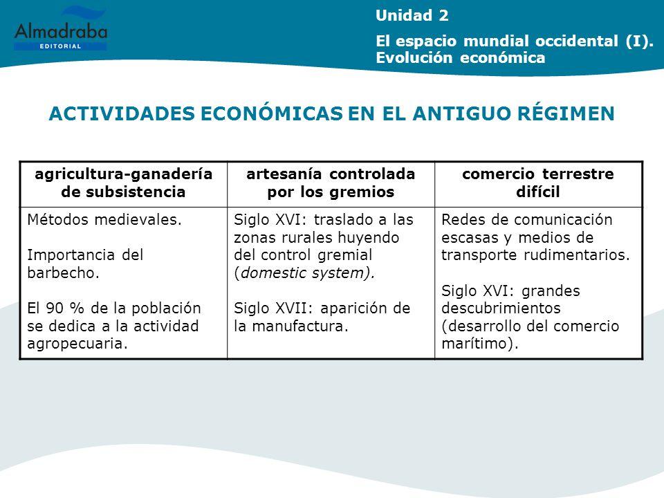 ACTIVIDADES ECONÓMICAS EN EL ANTIGUO RÉGIMEN Unidad 2 El espacio mundial occidental (I). Evolución económica agricultura-ganadería de subsistencia art