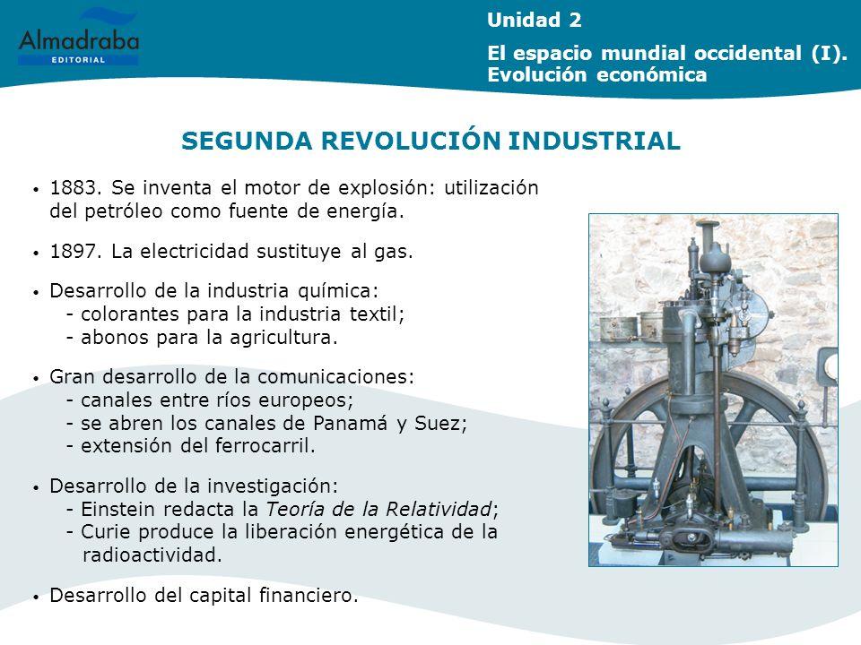 SEGUNDA REVOLUCIÓN INDUSTRIAL Unidad 2 El espacio mundial occidental (I). Evolución económica 1883. Se inventa el motor de explosión: utilización del