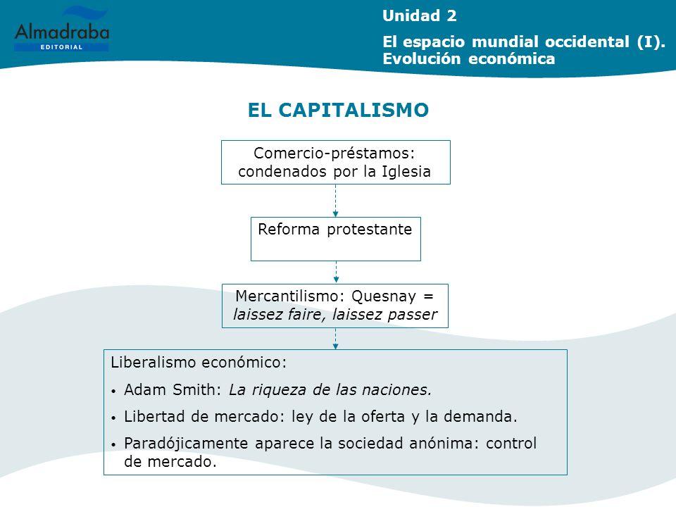 EL CAPITALISMO Unidad 2 El espacio mundial occidental (I). Evolución económica Reforma protestante Mercantilismo: Quesnay = laissez faire, laissez pas