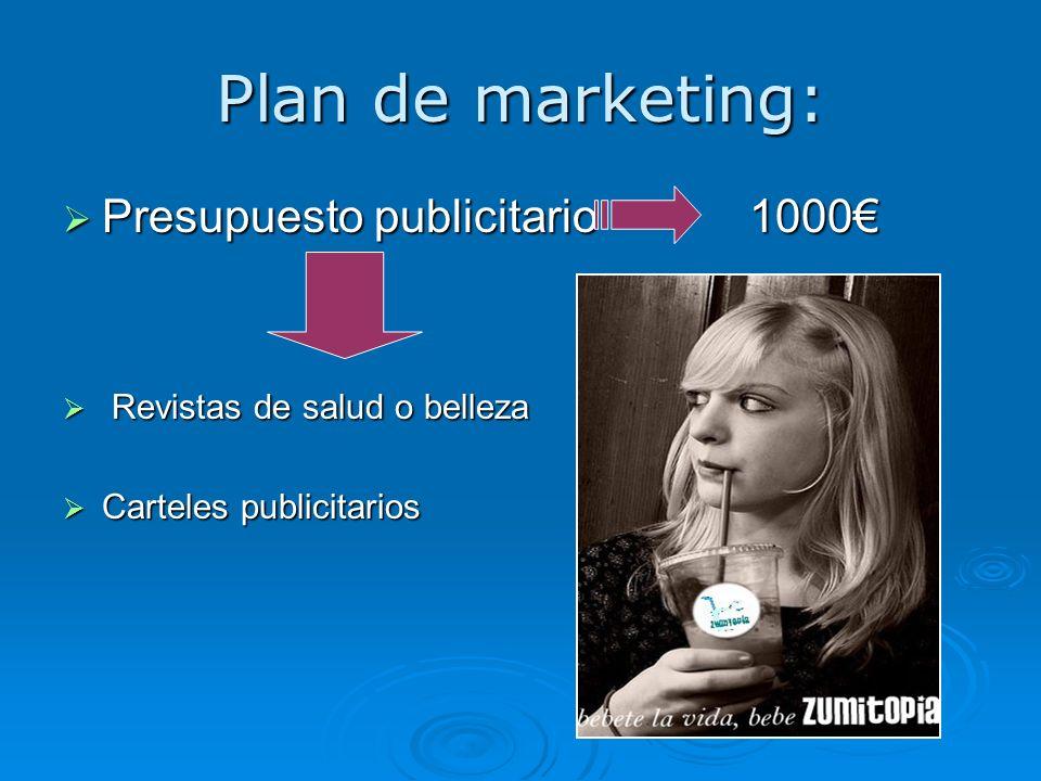 Plan de marketing: Presupuesto publicitario 1000 Presupuesto publicitario 1000 Revistas de salud o belleza Revistas de salud o belleza Carteles public