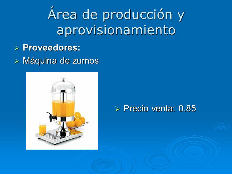 Área de producción y aprovisionamiento Proveedores: Proveedores: Máquina de zumos Máquina de zumos Precio venta: 0.85 Precio venta: 0.85
