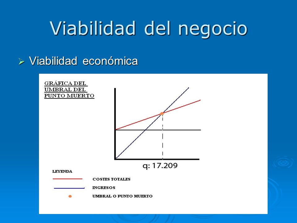 Viabilidad del negocio Viabilidad económica Viabilidad económica