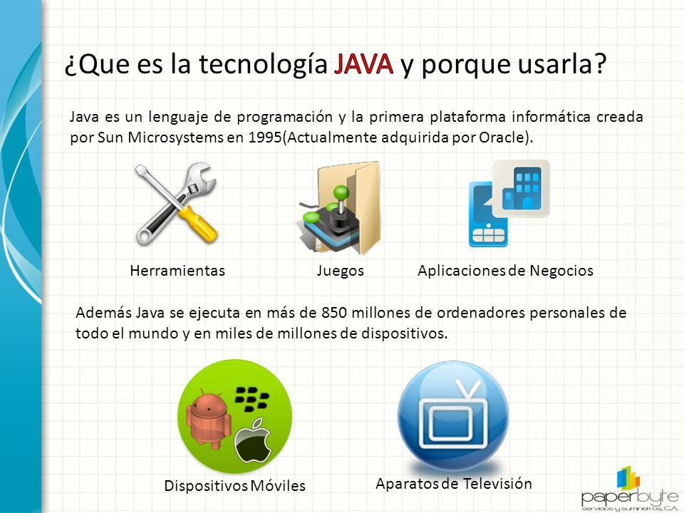 Java es un lenguaje de programación y la primera plataforma informática creada por Sun Microsystems en 1995(Actualmente adquirida por Oracle).