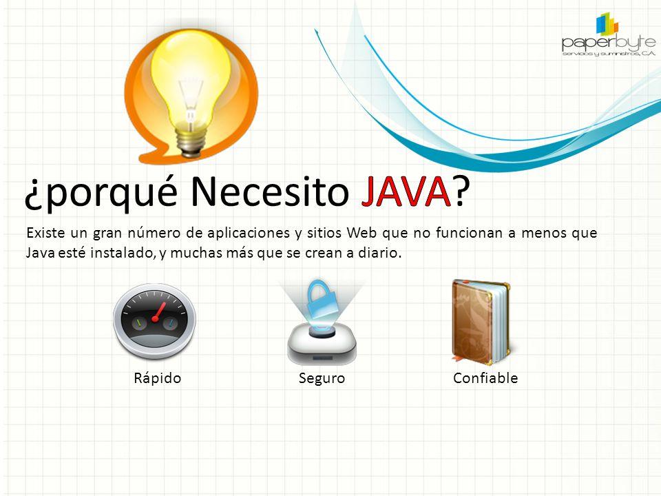 Existe un gran número de aplicaciones y sitios Web que no funcionan a menos que Java esté instalado, y muchas más que se crean a diario.