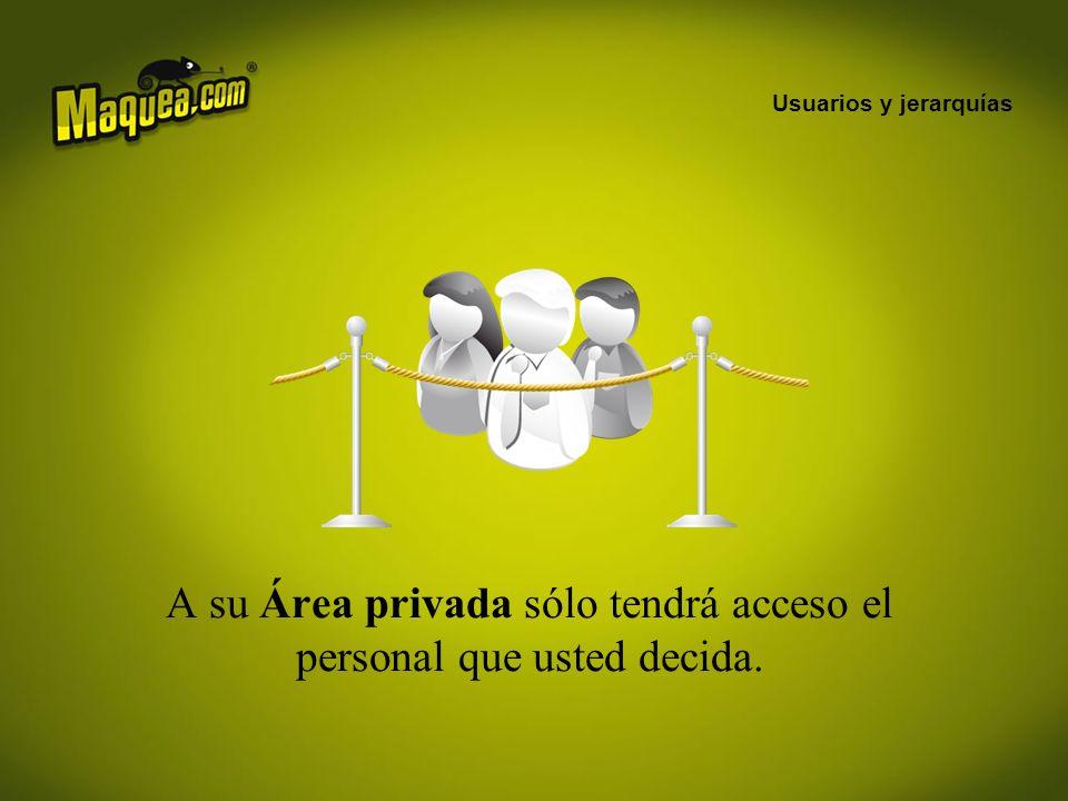 Usuarios y jerarquías A su Área privada sólo tendrá acceso el personal que usted decida.