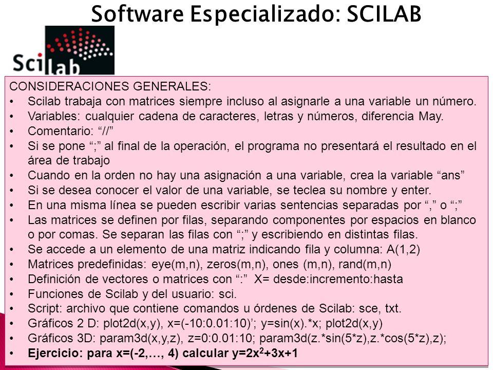 Software Especializado: SCILAB CONSIDERACIONES GENERALES: Scilab trabaja con matrices siempre incluso al asignarle a una variable un número.