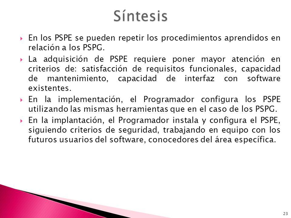 23 En los PSPE se pueden repetir los procedimientos aprendidos en relación a los PSPG.