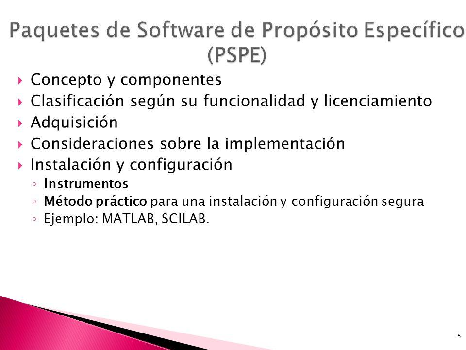 5 Concepto y componentes Clasificación según su funcionalidad y licenciamiento Adquisición Consideraciones sobre la implementación Instalación y configuración Instrumentos Método práctico para una instalación y configuración segura Ejemplo: MATLAB, SCILAB.