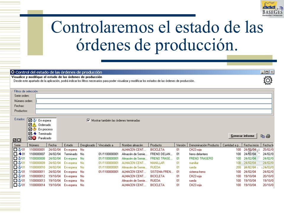Controlaremos el estado de las órdenes de producción.