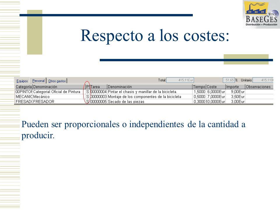 Respecto a los costes: Pueden ser proporcionales o independientes de la cantidad a producir.