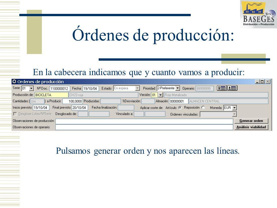 Órdenes de producción: En la cabecera indicamos que y cuanto vamos a producir: Pulsamos generar orden y nos aparecen las líneas.