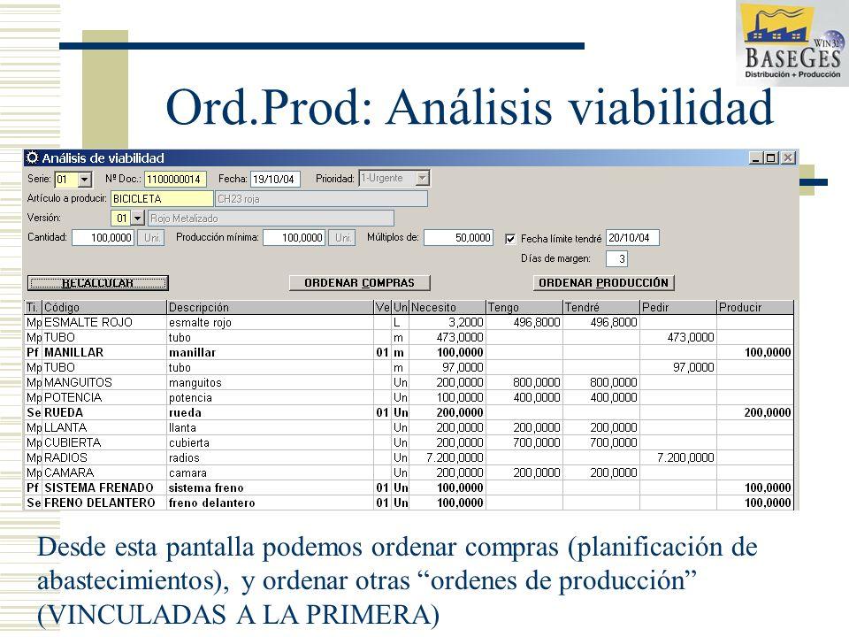 Ord.Prod: Análisis viabilidad Desde esta pantalla podemos ordenar compras (planificación de abastecimientos), y ordenar otras ordenes de producción (VINCULADAS A LA PRIMERA)