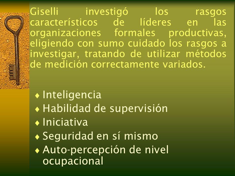 Giselli investigó los rasgos característicos de líderes en las organizaciones formales productivas, eligiendo con sumo cuidado los rasgos a investigar